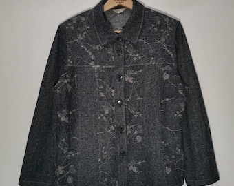 Vintage 90s NEIPLE JUNIOR Denim Jacket Floral pattern Knitted style jeans jacket button up streetwear cottonwool blue colour size M