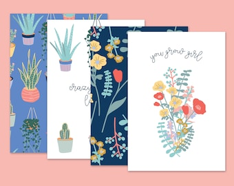 Set of Four Cards for Plant and Flower lovers. Two patterned, You Grow Girl & Crazy Plant Lady. A5 recycled including Kraft envelopes.
