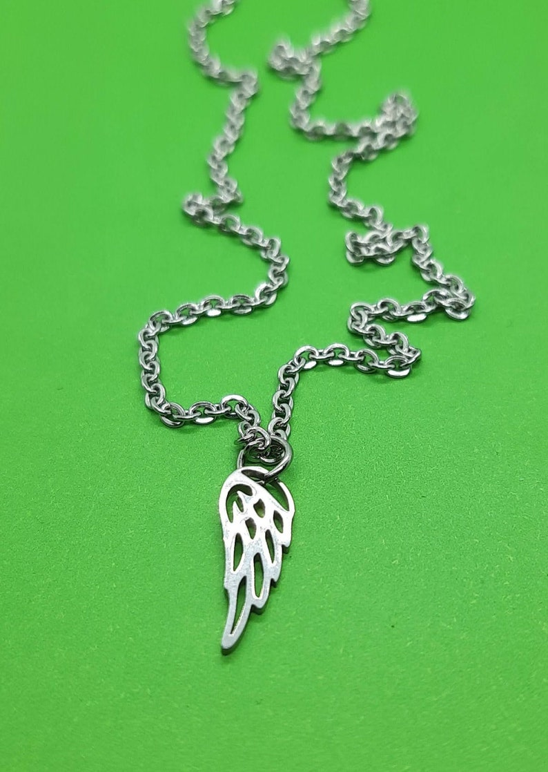 wing charm necklace Small angel wing necklace angel wing charm