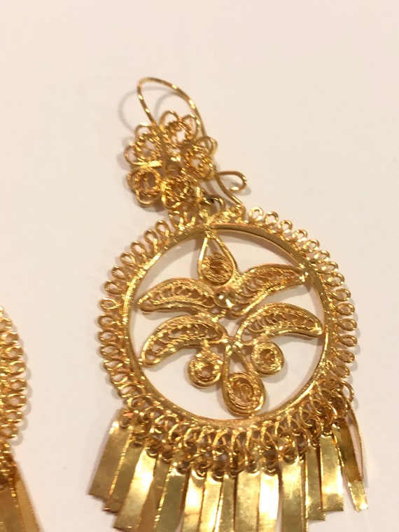 Tehuantepec Aretes gota artesanales Peacock Istmo Frida Kahlo maxi big Filigree Oaxaca earrings gold plate zapotec Mexican