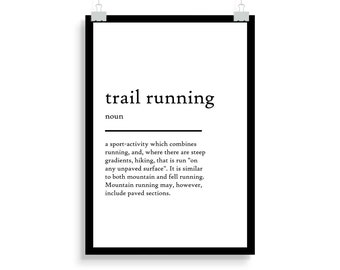 trail running definition print, trail running definition poster