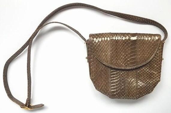 Vintage shoulder bag bag bag snakeskin bag snakes… - image 1