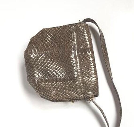 Vintage shoulder bag bag bag snakeskin bag snakes… - image 3