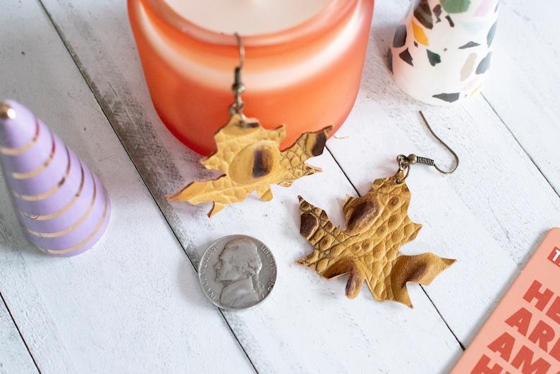 Mustard Yellow Brown and Black Alligator Genuine Leather Handmade Maple Leaf DangleDrop Earrings