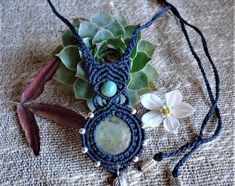 Macramé necklace - Prehinite