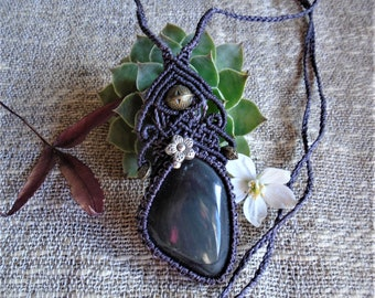 Macramé necklace - Obsidian