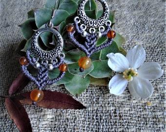 Macramé earrings - Cornaline