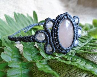 Macramé bracelet - Pink Quartz