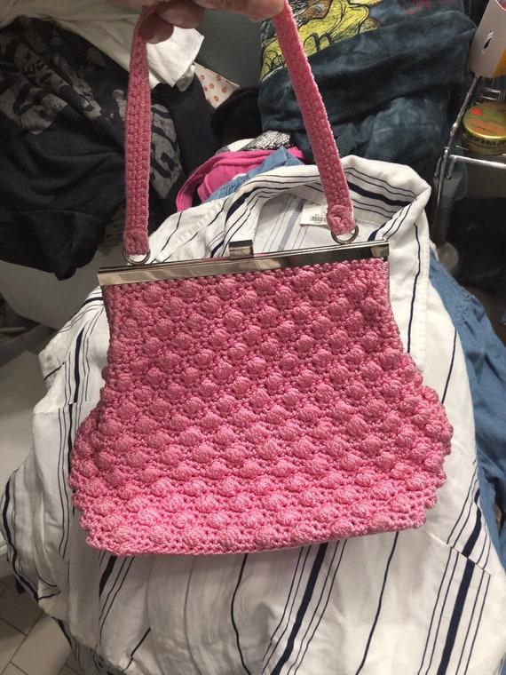 Vtg pink 50s 60s knit crochet bag purse handbag cl