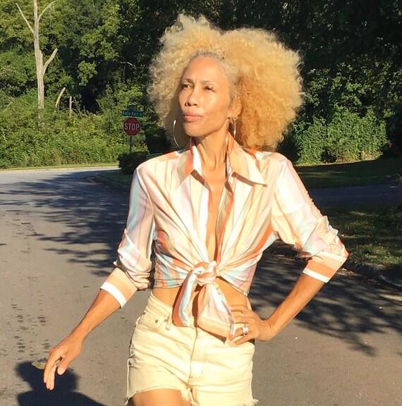 Vtg 70s polyester striped disco blouse shirt top p