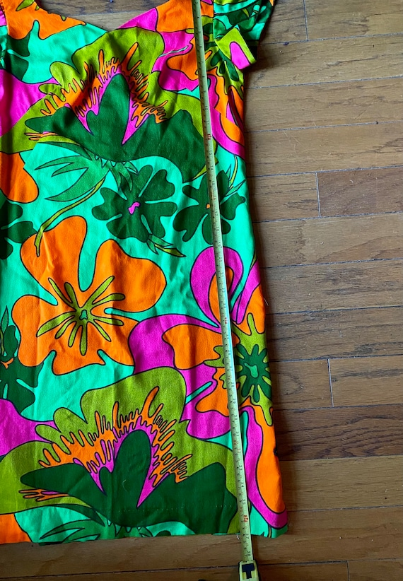 Vtg 60s psychadelic hawaiian mod Asian dress S M … - image 3