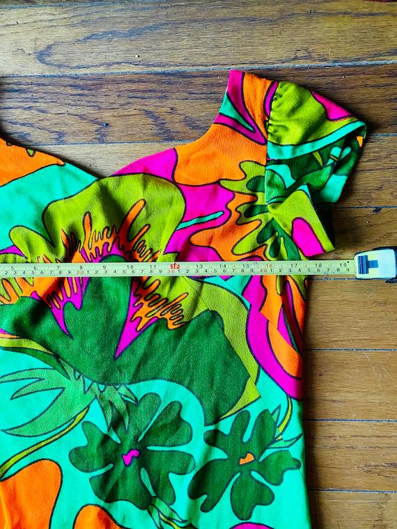 Vtg 60s psychadelic hawaiian mod Asian dress S M … - image 6