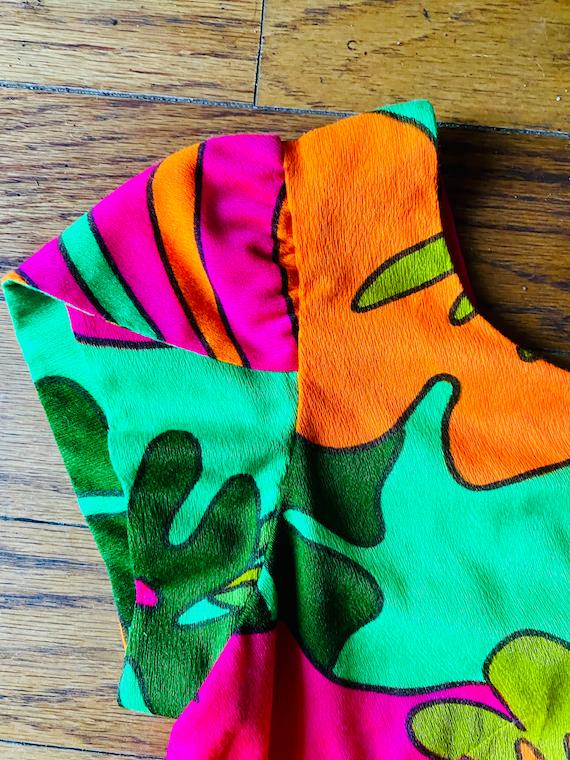 Vtg 60s psychadelic hawaiian mod Asian dress S M g
