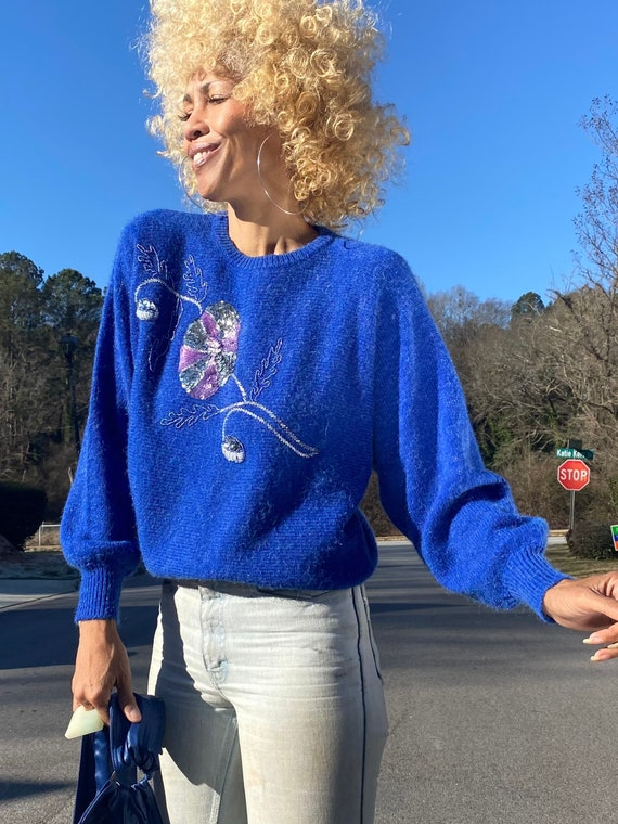 Vintage 80s blue mohair dolman batwing sweater seq