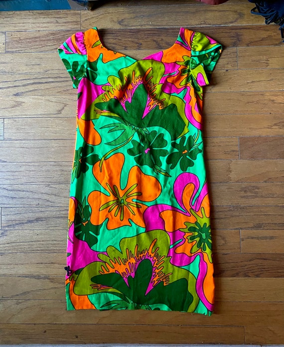 Vtg 60s psychadelic hawaiian mod Asian dress S M … - image 4