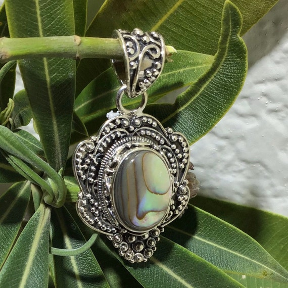 SKU 3791 Abalone Pendant Handmade in Bali Sterling Silver Abalone Sterling Silver Pendant