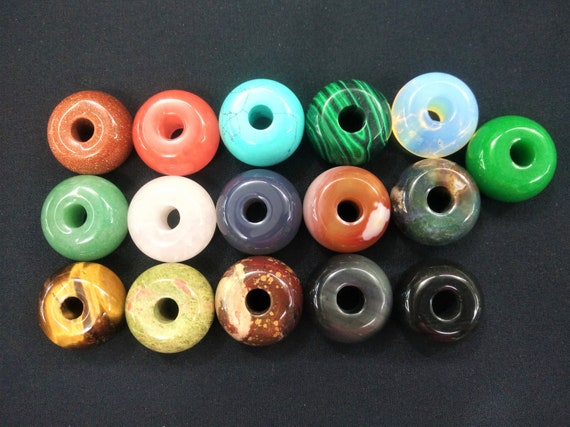 10pcslot 4mm Big hole 18mm Donut Ring Beads-opalite,blue turquoise,green aventurine,rose quartz,red stone,tiger eye,blue Sand,sodalite