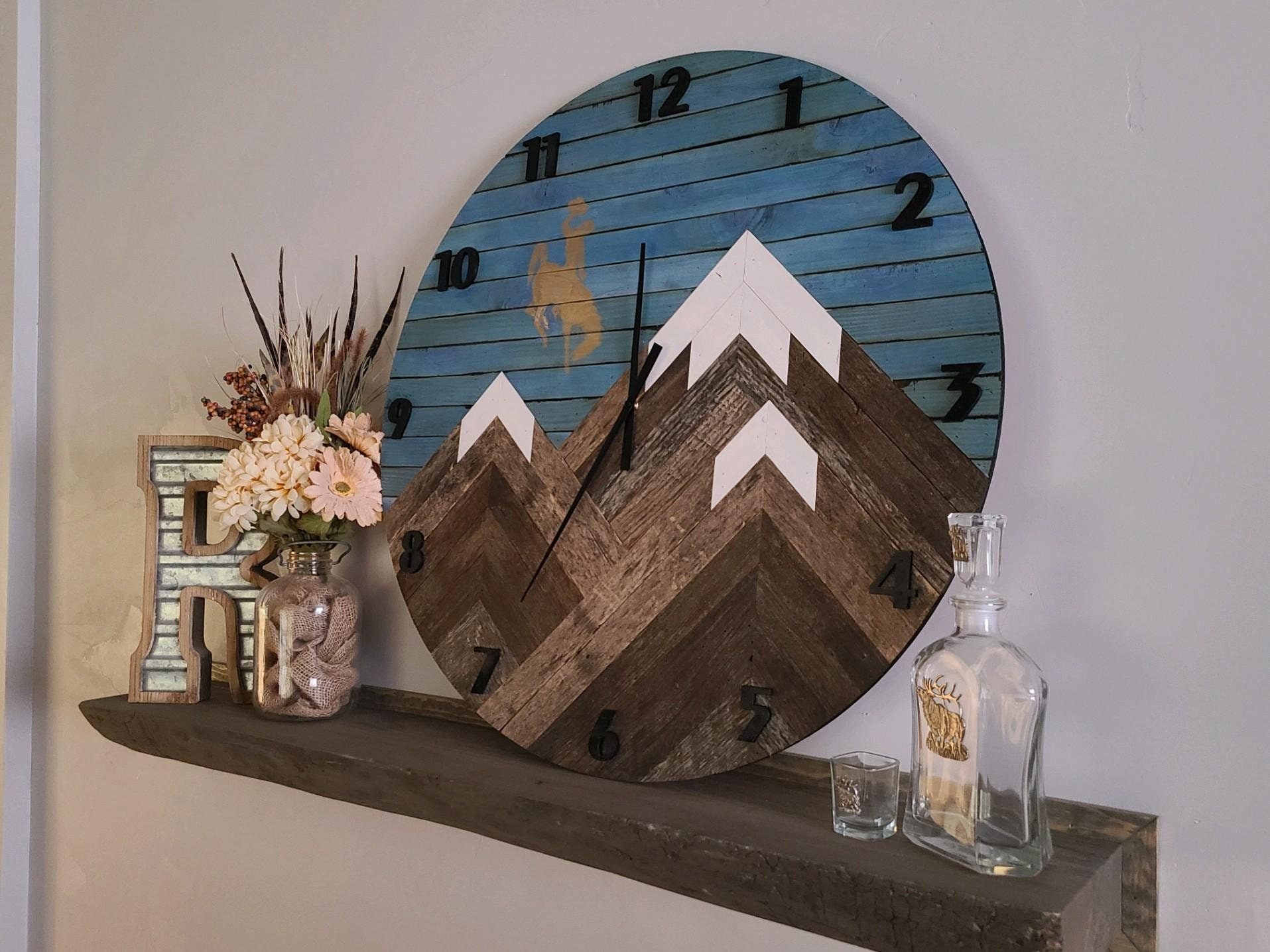 Reclaimed Barnwood Mountainscape Wall Clock - Farmhouse Wall Clock - Rustic Wall Clock - Large Clock - With or Without Bucking Horse