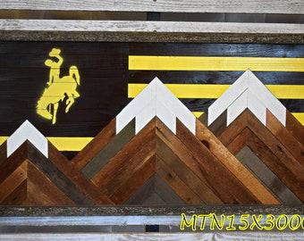 Bucking Horse Mountainscape Wyoming - Powder River Let'er buck - Bucking Horse- Barnwood Decor- Rustic Decor - Barn Art- Wall Art- Reclaimed