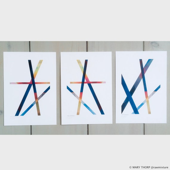 THE DANCERS Trio of Abstract Art Prints A5/A4 size