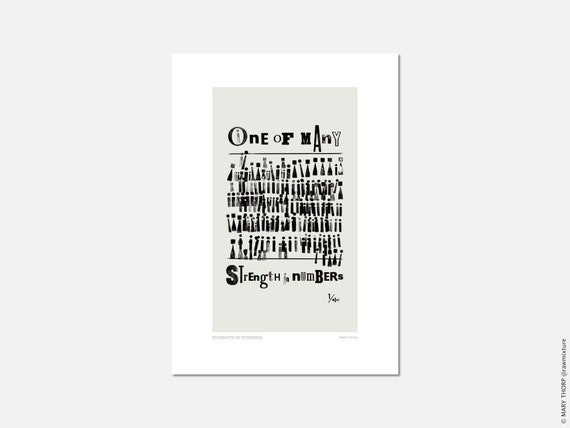 Pale Grey 'Strength in Numbers' A5/A4 Art Print