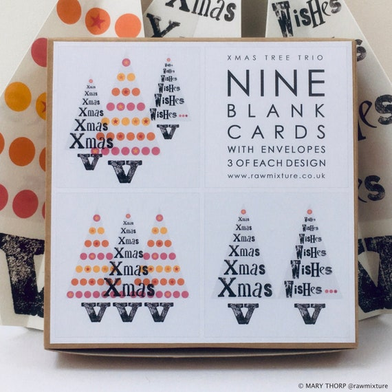 Box of 9 Small Cards  - Xmas Tree Trio Collection