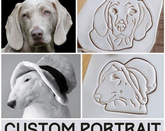 Pet portrait cookie cutter Personalized cookies Your cat portrait design cookie cutter Custom dog cookie stamp clay stamp Play-doh mold