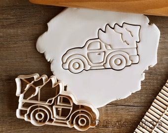 Car with Christmas Tree Santa Claus Ornament Winter Nut Nuts Cookie Cutter Pastry Fondant Dough Biscuit