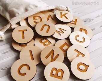 Full Alphabet Letters Wooden Memory Game Matching Little Kid Toddler Educational Learning Montessori Homeschooling Children