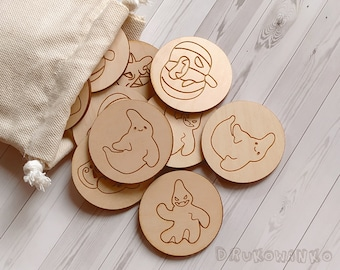 Halloween 10 pairs Pumpkin Scary Ghost Wooden Memory Game Matching Little Kid Toddler Educational Learning Montessori Homeschooling Children
