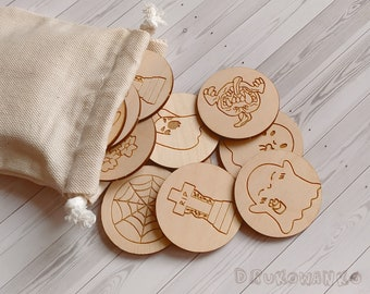 Halloween 10 pairs Scary Pumpkin Ghost Wooden Memory Game Matching Little Kid Toddler Educational Learning Montessori Homeschooling Children