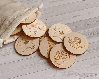 Christmas 9 pairs Bells Angel Elf Snow Wooden Memory Game Matching Little Kid Toddler Educational Learning Montessori Homeschooling Children