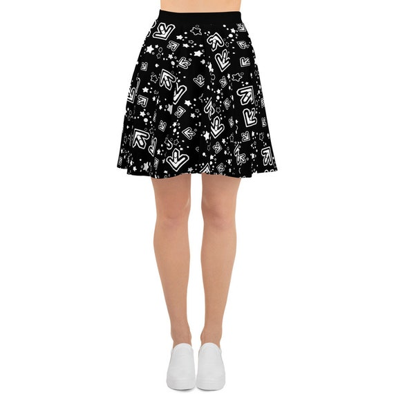 Black & White Arrows Skater Skirt