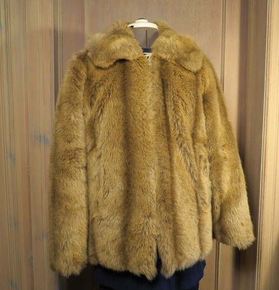 Vintage 1980s Women's Faux Fur Coat, Fake Fur Coat