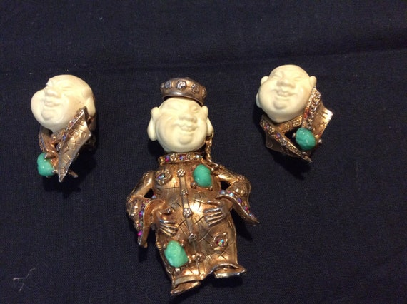 Vintage Coolie Man Pin and Earring Set