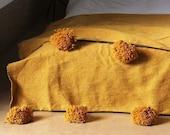 Mustard Moroccan pom pom throw blanket,bohemian decor bedcover, blanket sofa, pom pom blanket, Throw Blanket With Tassels