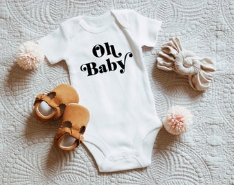 Oh Baby Bodysuit Pregnancy Announcement Greenery Baby Shower Bodysuit