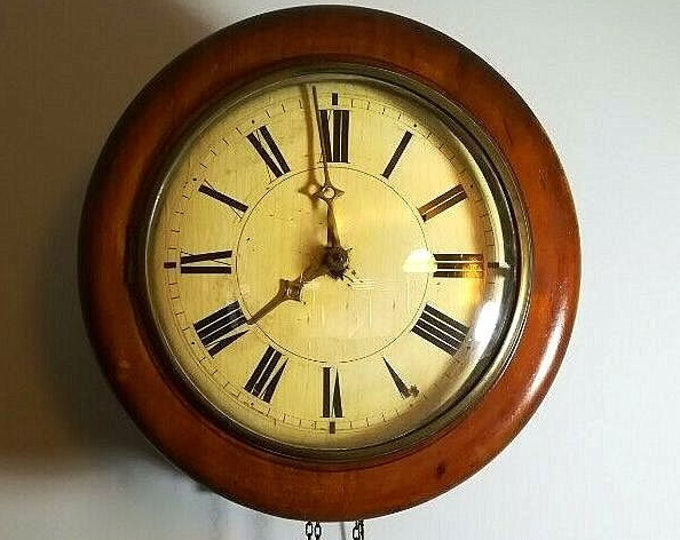Featured listing image: Victorian (1880s) German WAG On THE WALL Or Postmasters Clock - See description