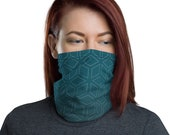 Cubic Roots (Teal) - Washable Cloth Face Covering / Neck Gaiter / Face Mask in Teal Blue for Men & Women
