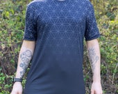 Fading Flower of Life (Midnight) - Sacred Geometry Shirt in Navy Blue for Men