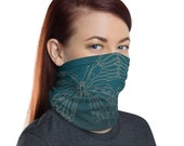 Transform Reflection (Teal) - Washable Cloth Face Covering / Neck Gaiter / Face Mask in Teal Blue for Men & Women