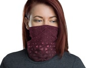 Trinity Grid (Wine) - Washable Cloth Face Covering / Neck Gaiter / Face Mask in Burgundy Red for Men & Women