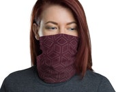 Cubic Roots (Wine) - Washable Cloth Face Covering / Neck Gaiter / Face Mask in Burgundy Red for Men & Women