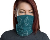 Crystal Grid (Teal) - Washable Cloth Face Covering / Neck Gaiter / Face Mask in Teal Blue for Men & Women