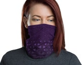 Trinity Grid (Violet) - Washable Cloth Face Covering / Neck Gaiter / Face Mask for Men & Women