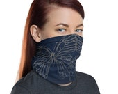 Transform Reflection (Midnight) - Washable Cloth Face Covering / Neck Gaiter / Face Mask in Navy Blue for Men & Women