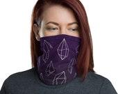 Crystal Grid (Violet) - Washable Cloth Face Covering / Neck Gaiter / Face Mask for Men & Women