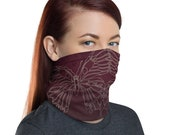 Transform Reflection (Wine) - Washable Cloth Face Covering / Neck Gaiter / Face Mask in Burgundy Red for Men & Women