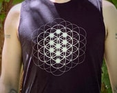 Seed, Flower & Tree Mandala - Sacred Geometry Kabbalah Muscle Shirt for Men