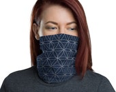 Flower of Life (Midnight) - Washable Cloth Face Covering / Neck Gaiter / Face Mask in Navy Blue for Men & Women